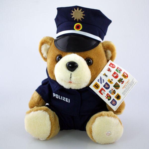 Polizei-Teddy- blaue Achteck Mütze